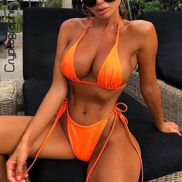 Cryptographic Neon Fashion Women's Bikini Sets Lace Up V-Neck Halter 2019 Summer Swimwear Sexy Backless Outfits Two Pieces Set