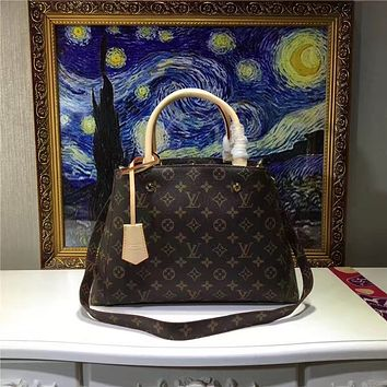LV Louis Vuitton WOMEN'S MONOGRAM LEATHER MEDIUM HANDBAG SHOULDER BAG