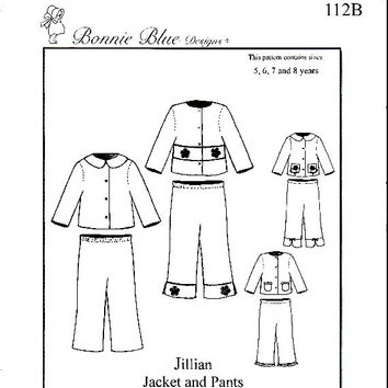 Childrens Jackets Pull On Pants Pattern Easy to Sew Decorative Band Insert Bonnie Blue Jillian Heirloom Sewing Patterns Uncut Size 5 6 7 8