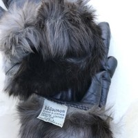 Wilsons Black Leather Nappa Driving Gloves Fur Lining Ladies