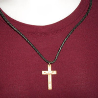 Repurposed Vintage Cross Necklace Cord Unisex Upcycled Jewelry Religious Accessories