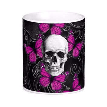 Fantasy Skull And Hot Pink Butterflies White Coffee Mugs Tea Mug Customize Gift By LVSURE Ceramic Cup Mug Travel Coffee Mugs