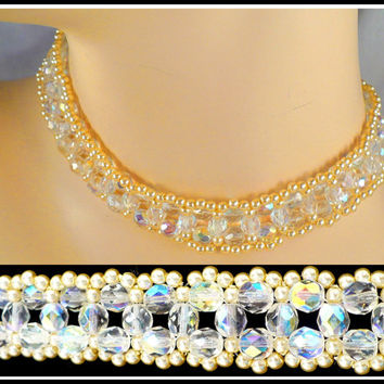 Vintage Aurora Borealis Crystal & Pearl Choker, Off White Pearls AB Crystals, Victorian Revival, Downton Abbey Style