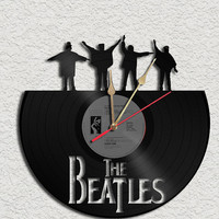 The Beatles Theme Vinyl Record Clock Upcycled Vinyl Records Great Gift