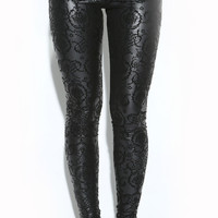 BAROQUE VELVET MATTED LEATHER LEGGINGS