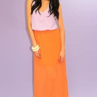 Pink and Orange Colorblock Sleeveless Maxi Dress