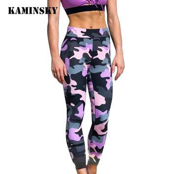Kaminsky S-XL Women's Fashion Camouflage Printed Leggings Casual Workout Legging Adventure Time Print Slim Push Up Sexy Leggings