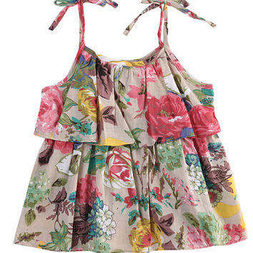 Toddler Kids Baby Girl Summer Spaghetti straps Cotton Clothes Sleeveless Floral Tops T-Shirt Beach Wear