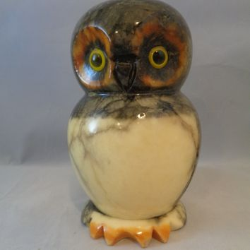 Italian Marble Alabaster Hand Carved Owl