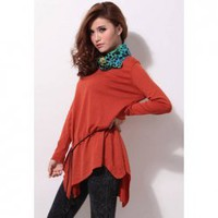 Casual Round Neck Long Sleeve and Soild Color Women's Knitting Sweater