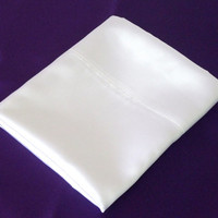 Pillowcase Standard Size White Satin One Case