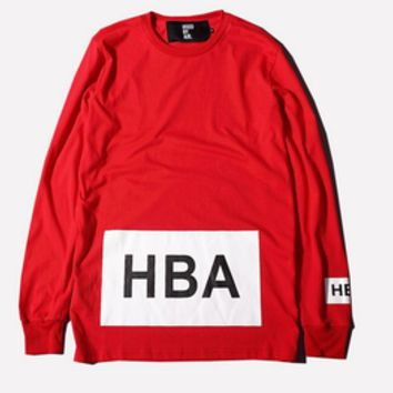 "NEW! HBA ""Hood by Air"" Big Box Logo Long Sleeve Shirt — Streetwear Villa 