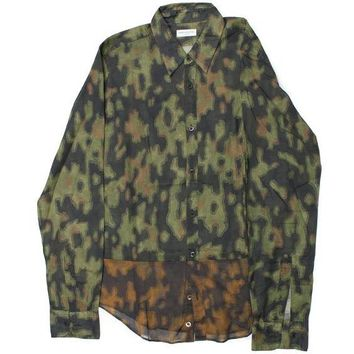 Dries Van Noten Brown Cotton Camouflage LongSleeve ButtonDown Shirt