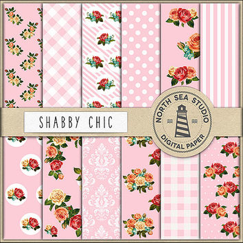 BUY5FOR8 Shabby Chic Digital Paper Rose Patterns Floral Scrapbook Paper Pink Backgrounds Rose Flower Shabby Chic Papers