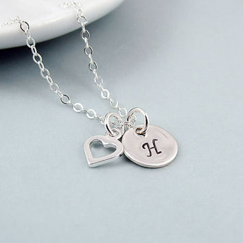Personalized Initial Necklace with Heart, Sterling Silver, Handstamped Jewelry, Monogram Necklace