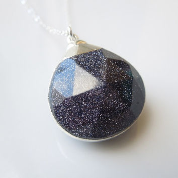 Midnight Blue Goldstone Necklace in Silver : Sparkly Jewelry