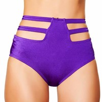 Purple High-Waisted Strapped Booty Shorts