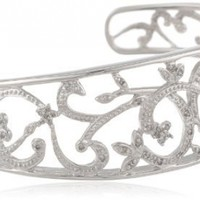 Sterling Silver Diamond Cuff Bracelet (1/4 cttw, I Color, I3 Clarity)