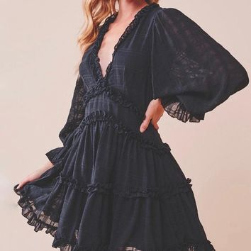 Bell Sleeve Cut Out Ruffled V-Neck Dress in Black