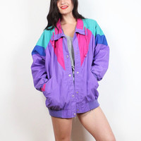 Vintage 1980s Bomber Jacket Purple Pink Blue Green Color Block New Wave Windbreaker Sporty 80s Track Jacket Athletic Coat M L Extra Large XL