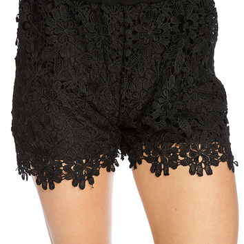 Black Crochet Scalloped Trim Spring Shorts