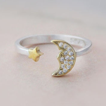 925 Sterling Silver Crescent Moon Ring,silver moon star crystal adjustable rings
