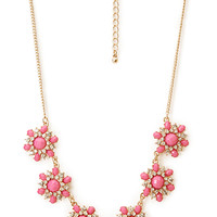 FOREVER 21 Glam Flower Necklace Pink/Gold One