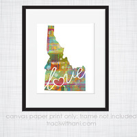 Idaho Love - ID Canvas Paper Print:  Grunge, Watercolor, Rustic, Whimsical, Colorful, Digital, Silhouette, Heart, State, United States
