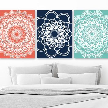 Mandala Wall Art, BATHROOM Wall Decor, CANVAS or Prints, Mandala Medallion Wall Decor, Coral Navy Aqua Bedroom Wall Decor, Set of 3 Pictures