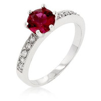 Petite Garnet Red Engagement Ring, size : 07