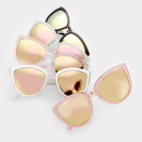 Large Pastel Cat Eye Mirrored Sunglasses - Clara
