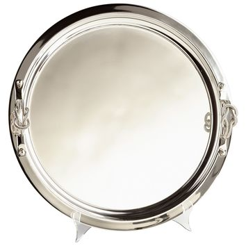 Sailor's Knot Round Nickel Decorative Serving Tray by Cyan Design
