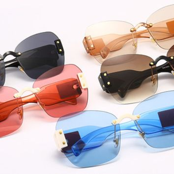 Skylar Colorblock Rimless Sunglasses