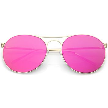 Oversize Metal Aviator Sunglasses Double Nose Bridge Round Color Mirrored Flat Lens 65mm