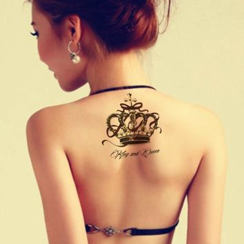 Waterproof Temporary Tattoo Sticker on body big crown tatto stickers flash tatoo fake tattoos for women girl