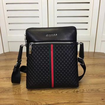 Gucci Men Leather Inclined Shoulder Bag
