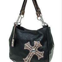 Leather Cross Handbag with Studs