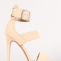 Nubuck Triple Strap Open Toe Heel