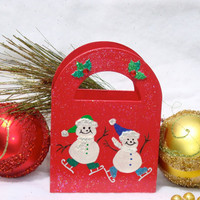 Skating Snowmen Holiday Gift Bag/ Ornament/ Keepsake