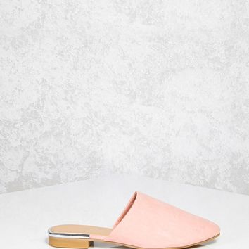Faux Suede Slip-On Mules