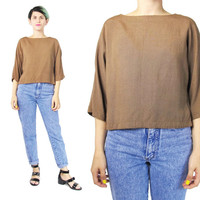 80s Minimalist Blouse Copper Brown Blouse Dolman Sleeve Top Copper Brown Slouchy Short Sleeve Blouse Japenese Vintage Pullover Top (S/M)