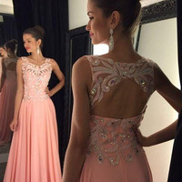 A-Line Prom Dresses,Pink Prom Dress,Long Evening Dresses