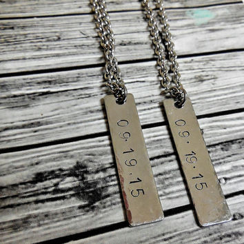 Hammered Personalized Stainless Steel Bar Necklace On Stainless Steel Chain / Add Date Or Name Hand Stamped Bar Charm Necklace