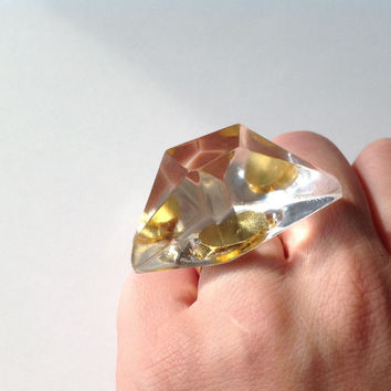 "Trasparent RESIN DIAMOND RING.Chunky statement clear ring. Audacious handmade ""Napoleon's Feluca"" clear resing ring"