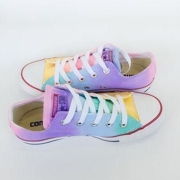 pastel rainbow tie dye low top converse