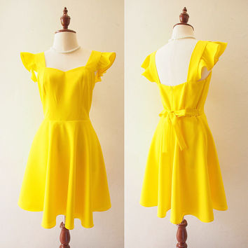 OLIVIA - Lemon Yellow Dress La La Land Ruffle Sleeve Sweetheart Dress - Back Zipper - Bridesmaid Prom Party Cocktail Dress Yellow Sundress