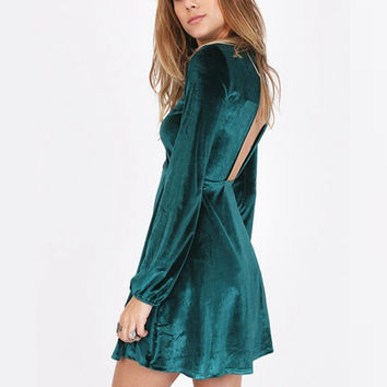 Elegant Dress Sexy Backless A-Line Solid Puff Long Sleeve Mini Party Dresses