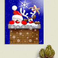 «Funny Christmas Santa and Reindeer Cartoon», Numbered Edition Aluminum Print by BluedarkArt Lem - From 55€ - Curioos
