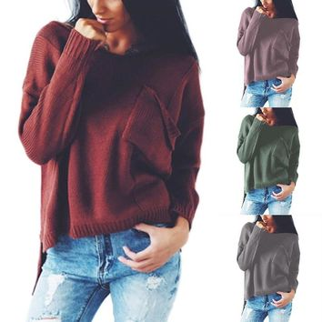 Winter Sweater Women Autumn Side Split The Fork Pullover Sexy V-Neck Long Sleeve Hollow Out Back Swe