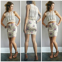A Gold N Roses Pencil Skirt